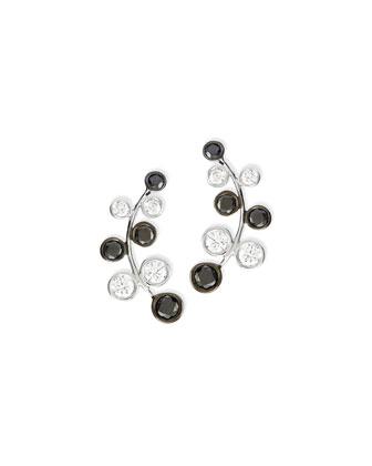 18k White Gold Vine Earrings with White & Black Diamonds
