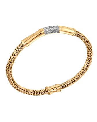 Bamboo 18k Gold & Diamond Station Bracelet
