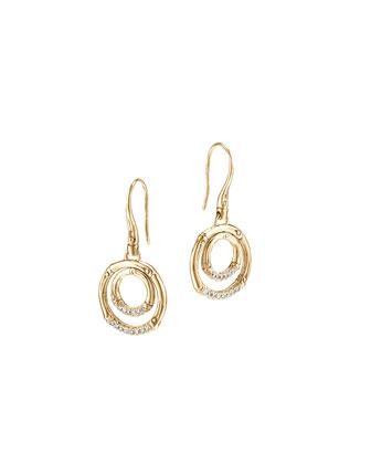 Bamboo 18k Gold & Diamond Drop Earrings