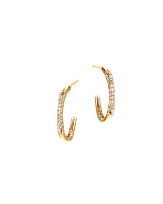 Bamboo 18k Gold & Diamond Extra-Small Hoop Earrings