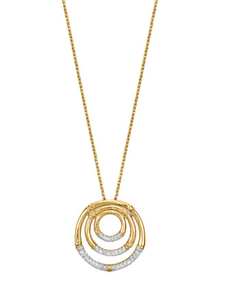 Bamboo 18k Gold & Diamond Pendant Necklace