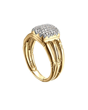 Bamboo 18k Diamond Three-Row Ring, Size 6