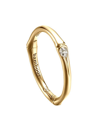 Bamboo 18k Diamond Band Ring, Size 7