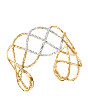 Classic Chain 18k Gold & Diamond Wide Braided Cuff