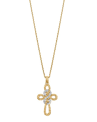 Classic Chain 18k Gold & Diamond Cross Pendant Necklace