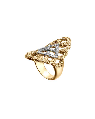 Classic Chain 18k Gold & Diamond Saddle Ring
