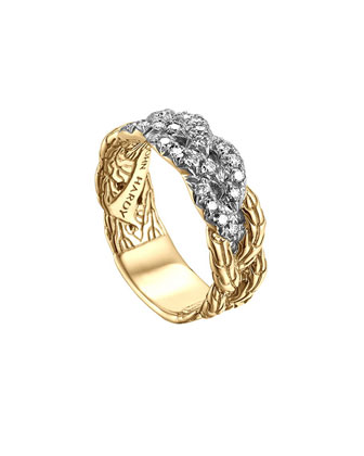 Classic Chain 18k Braided Diamond Ring, Size 7