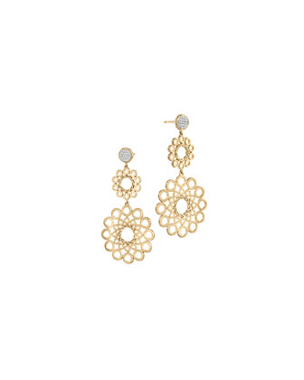 Dot 18k Gold Double Drop Earrings