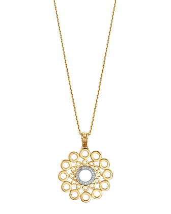 Dot 18k Gold & Diamond Round Pendant Necklace