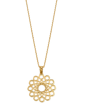 Dot 18k Gold Round Pendant Necklace
