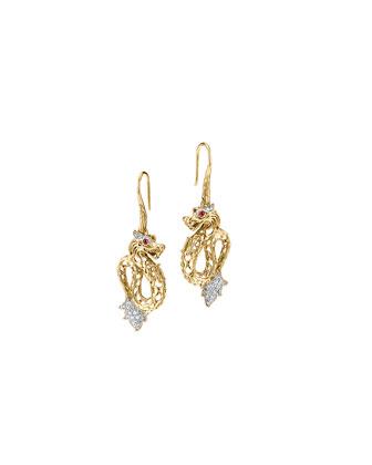 Batu Naga 18k Gold & Diamond Dragon Drop Earrings