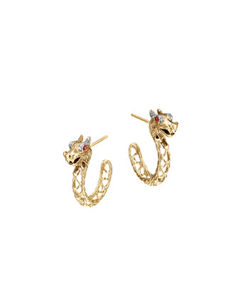 Batu Naga 18k Gold Medium Dragon Hoop Earrings