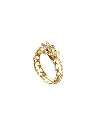 Naga 18k Gold Dragon Ring, Size 6