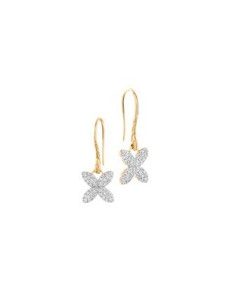 Kawung 18k Pave Diamond Drop Earrings