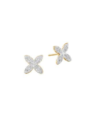 Kawung 18k Pave Diamond Stud Earrings