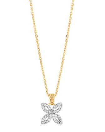Kawung 18k Pave Diamond Pendant Necklace