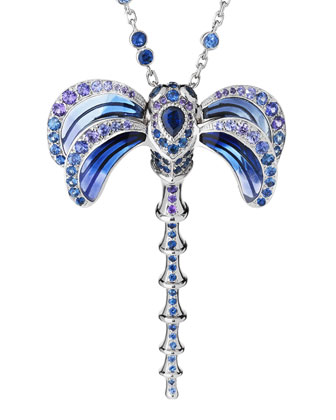 Dragonfly Pendant Necklace with Sapphire & Amethyst