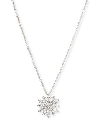 Diamond Cluster Pendant Necklace, 18