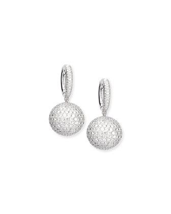 Pave Diamond Sphere Drop Earrings