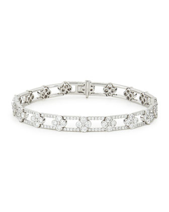 18k White Gold Diamond Clover Bracelet