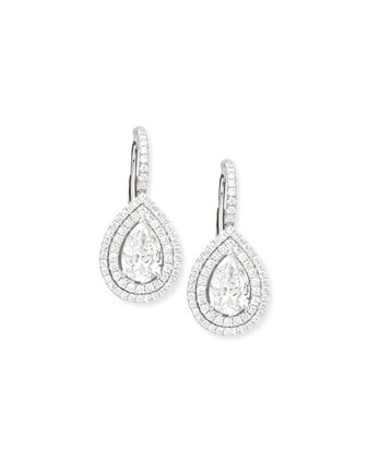 Pear-Cut Double-Halo Diamond Drop Earrings