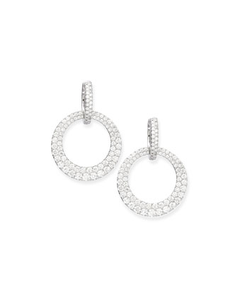 Pave Diamond Circle Drop Earrings