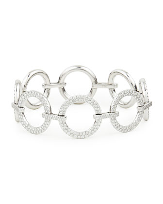 18k White Gold Diamond Circle-Link Bracelet