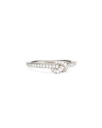 Stackable Diamond Knot Ring, 18k White Gold