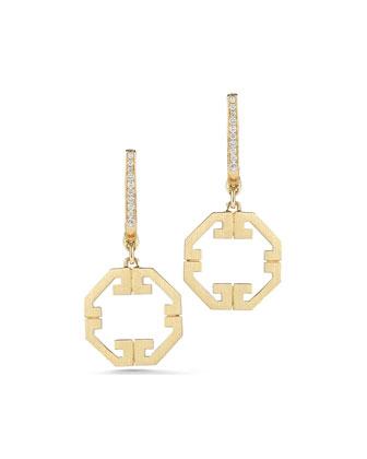 Metropolis 18k Octagonal Diamond Drop Earrings