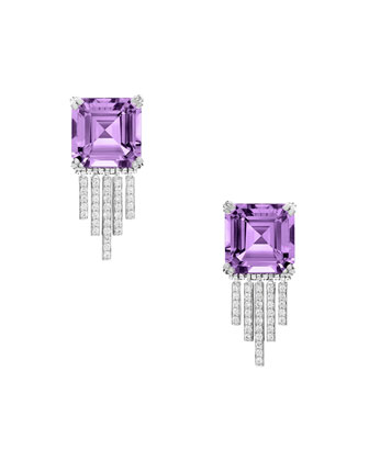 Empire Amethyst Diamond Fringe Earrings