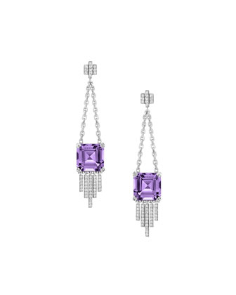 Empire Amethyst Diamond Fringe Dangle Earrings