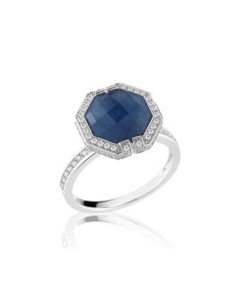 Patras Blue Sapphire Octagonal Ring