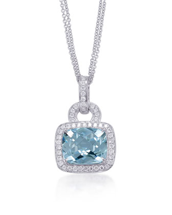 Roma Aquamarine & Diamond Pendant Necklace