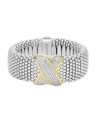 Silver Caviar Bracelet with Diamond X, 23mm
