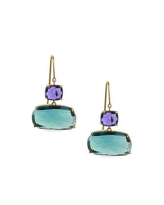 Murano Amethyst & London Blue Topaz Earrings