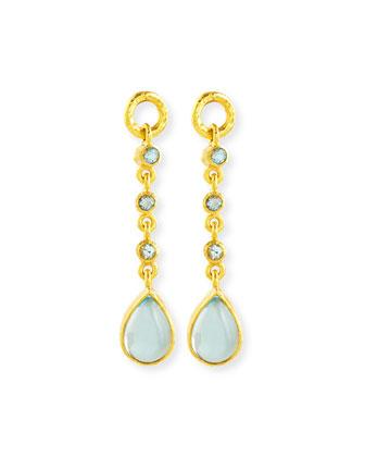 19k Aquamarine Earring Pendants