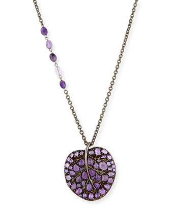 Botanical Leaf Amethyst Pendant Necklace