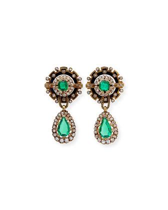 Estate Victorian Emerald & Diamond Enamel Drop Earrings