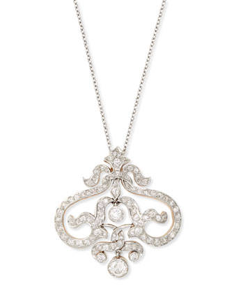 Estate Edwardian Floral Scroll Diamond Pendant Necklace