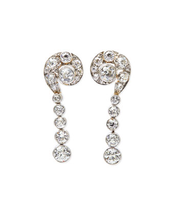 Estate Edwardian Diamond Swirl Dangle Earrings