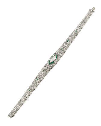 Estate Art Deco Diamond & Emerald Tapered Bracelet