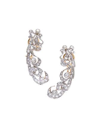 Estate Edwardian Open Scroll Diamond Earrings