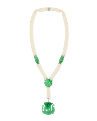 Estate Edwardian Carved Jadeite Pearl & Diamond Necklace
