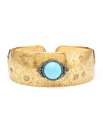 Estate Victorian 18k Gold Floral Bangle with Turquoise