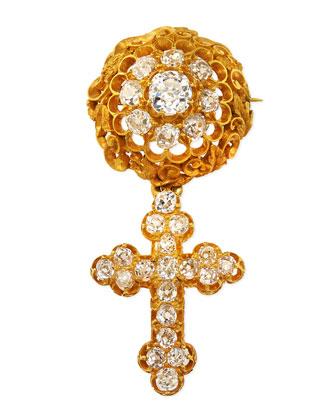 Estate Victorian Diamond Cross Pendant Pin