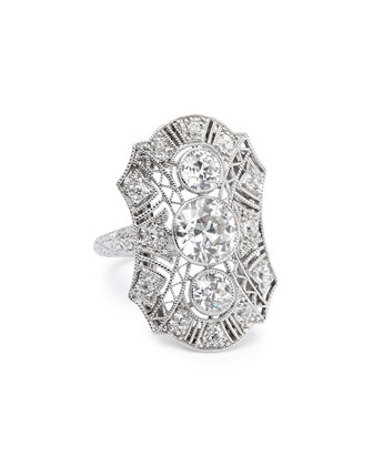 Estate Edwardian Diamond Filigree Dinner Ring, Size 5