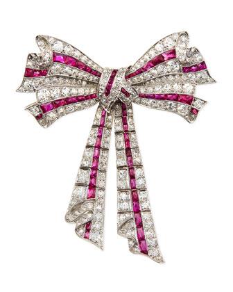 Estate Edwardian Diamond & Ruby Ribbon Bow Pin