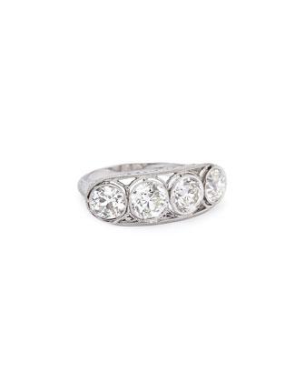 Estate Edwardian 4-Diamond Filigree Ring, Size 6.75