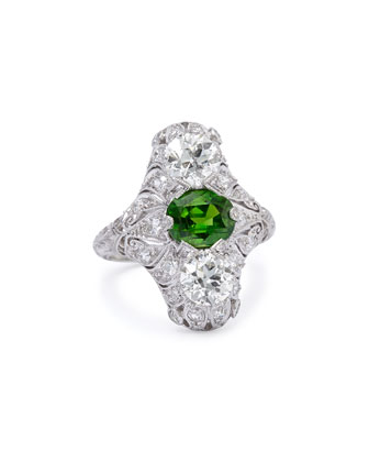 Estate Edwardian Demantoid Garnet Dinner Ring, Size 6