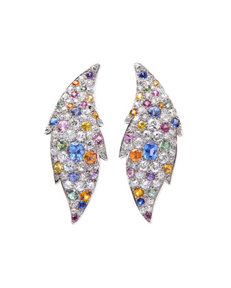 Estate Art Deco Diamond & Sapphire Flame Earrings